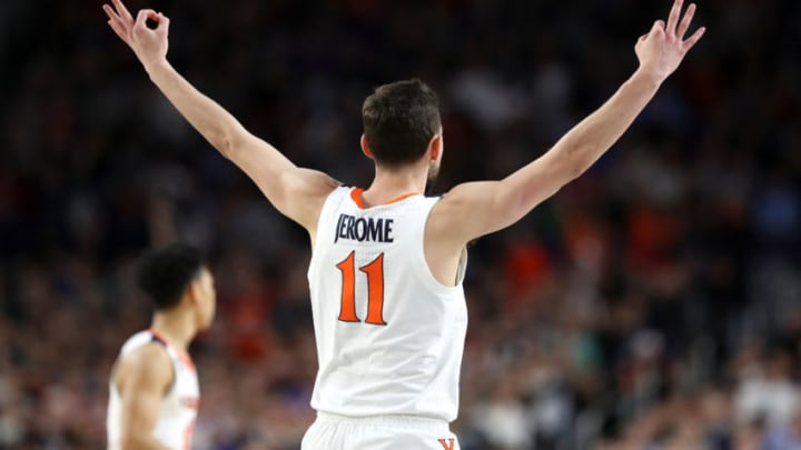 MINNEAPOLIS, MINNESOTA - APRIL 08: Ty Jerome #11 of the Virginia Cavaliers celebrates the play against the Texas Tech Red Raiders in the first half during the 2019 NCAA men's Final Four National Championship game at U.S. Bank Stadium on April 08, 2019 in Minneapolis, Minnesota. (Photo by Streeter Lecka/Getty Images)