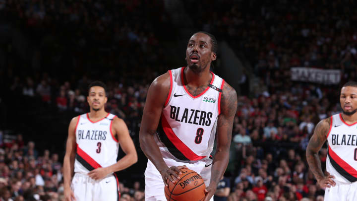 PORTLAND, OR – MAY 3: Al-Farouq Aminu #8 of the Portland Trail Blazers shoots the ball against the Denver Nuggets during Game Three of the Western Conference Semifinals of the 2019 NBA Playoffs on May 3, 2019 at the Moda Center Arena in Portland, Oregon. (Photo by Sam Forencich/NBAE via Getty Images)