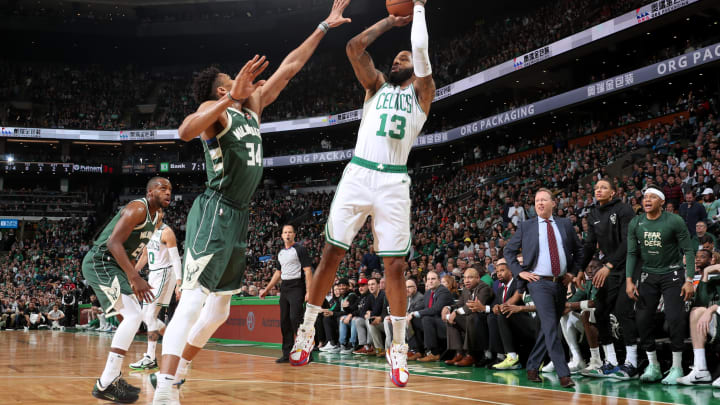 BOSTON, MA – MAY 6: Marcus Morris #13 of the Boston Celtics shoots the ball against the Milwaukee Bucks during Game Four of the Eastern Conference Semifinals of the 2019 NBA Playoffs on May 6, 2019 at the TD Garden in Boston, Massachusetts. (Photo by Nathaniel S. Butler/NBAE via Getty Images)