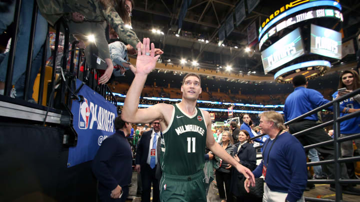 BOSTON, MA – MAY 6: Potential San Antonio Spurs target Brook Lopez #11 of the Milwaukee Bucks leaves the court after Game Four of the Eastern Conference Semifinals against the Boston Celtics during the 2019 NBA Playoffs on May 6, 2019 at the TD Garden in Boston, Massachusetts. (Photo by Nathaniel S. Butler/NBAE via Getty Images)