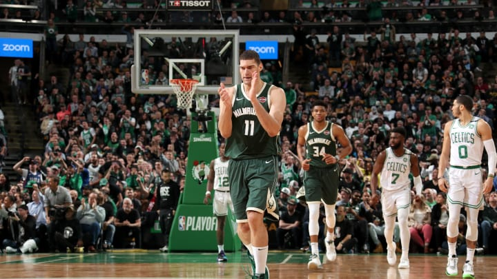 BOSTON, MA – MAY 6: Brook Lopez #11 of the Milwaukee Bucks reacts to a play against the Boston Celtics during Game Four of the Eastern Conference Semifinals of the 2019 NBA Playoffs on May 6, 2019 at the TD Garden in Boston, Massachusetts. (Photo by Nathaniel S. Butler/NBAE via Getty Images)