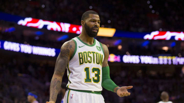 PHILADELPHIA, PA - MARCH 20: Marcus Morris #13 of the Boston Celtics reacts against the Philadelphia 76ers at the Wells Fargo Center on March 20, 2019 in Philadelphia, Pennsylvania. NOTE TO USER: User expressly acknowledges and agrees that, by downloading and or using this photograph, User is consenting to the terms and conditions of the Getty Images License Agreement.(Photo by Mitchell Leff/Getty Images)