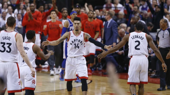TORONTO, ON – MAY 7: After dropping a three pointer, and then a time out on the floor, Toronto Raptors guard Danny Green (14) greets his mates as they head to the bench. Toronto Raptors vs Philadelphia 76ers in1st half action of Round 2, Game 5 of NBA playoff play at Scotiabank Arena. (Rick Madonik/Toronto Star via Getty Images)