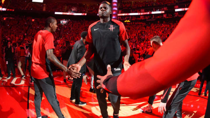 HOUSTON, TX - MAY 10: Clint Capela #15 of the Houston Rockets is introduced before Game Six of the Western Conference Semifinals against the Golden State Warriors during the 2019 NBA Playoffs on May 10, 2019 at the Toyota Center in Houston, Texas. NOTE TO USER: User expressly acknowledges and agrees that, by downloading and/or using this photograph, user is consenting to the terms and conditions of the Getty Images License Agreement. Mandatory Copyright Notice: Copyright 2019 NBAE (Photo by Andrew D. Bernstein/NBAE via Getty Images)
