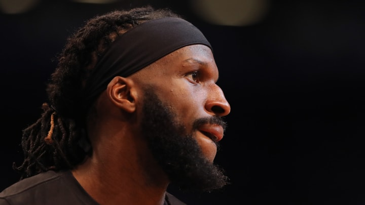 NEW YORK, NEW YORK – APRIL 18: DeMarre Carroll #9 of the Brooklyn Nets warms up before game three of Round One of the 2019 NBA Playoffs against the Philadelphia 76ers (Photo by Elsa/Getty Images)