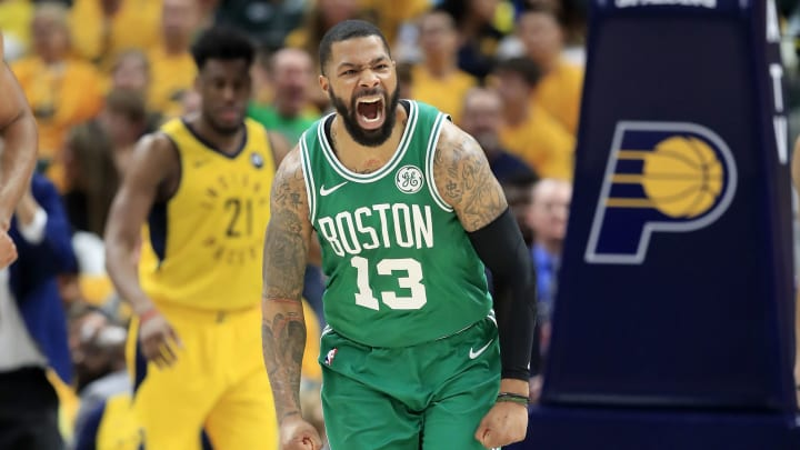 INDIANAPOLIS, INDIANA – APRIL 21: Marcus Morris #13 of the Boston Celtics celebrates against the Indiana Pacers in game four of the first round of the 2019 NBA Playoffs (Photo by Andy Lyons/Getty Images)