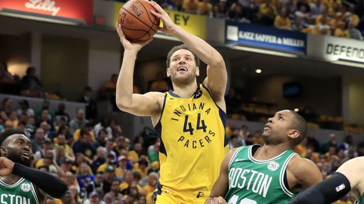 INDIANAPOLIS, INDIANA – APRIL 21: Bojan Bogdanovic #44 of the Indiana Pacers shoots the ball against the Boston Celtics in game four of the first round of the 2019 NBA Playoffs (Photo by Andy Lyons/Getty Images)