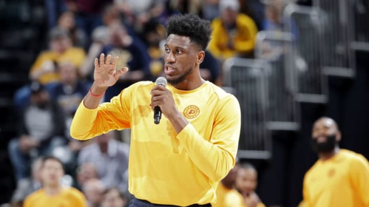 INDIANAPOLIS, IN - APRIL 07: Thaddeus Young #21 of the Indiana Pacers addresses the crowd before a game against the Brooklyn Nets at Bankers Life Fieldhouse on April 7, 2019 in Indianapolis, Indiana. NOTE TO USER: User expressly acknowledges and agrees that, by downloading and or using the photograph, User is consenting to the terms and conditions of the Getty Images License Agreement. (Photo by Joe Robbins/Getty Images)