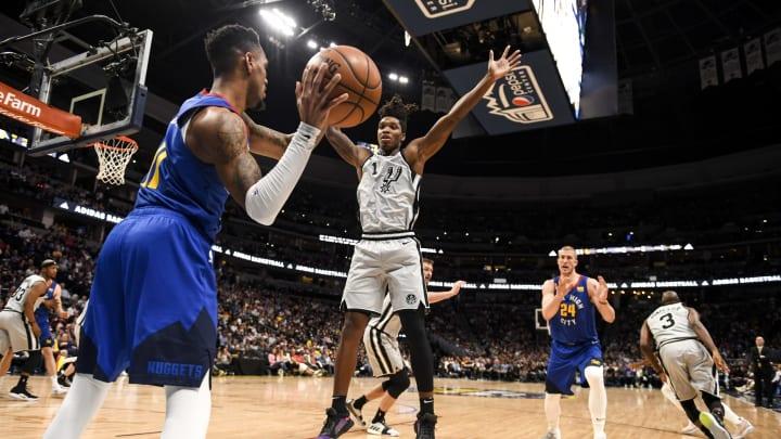 DENVER, CO – APRIL 23: Monte Morris of the Denver Nuggets inbounds as Lonnie Walker IV of the San Antonio Spurs defends (Photo by AAron Ontiveroz/MediaNews Group/The Denver Post via Getty Images)