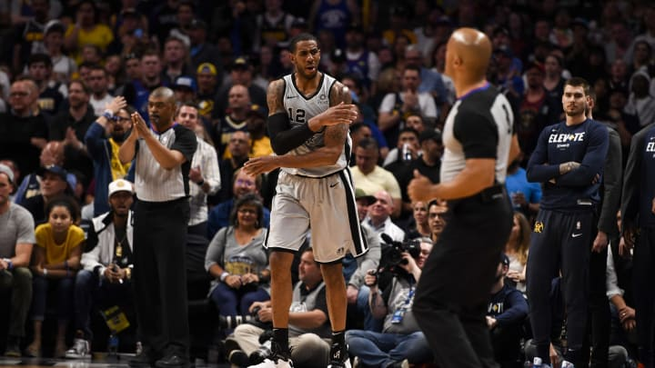 DENVER, CO – APRIL 27: LaMarcus Aldridge (12) of the San Antonio Spurs reacts during the third quarter of game seven against the Denver Nuggets (Photo by AAron Ontiveroz/MediaNews Group/The Denver Post via Getty Images)