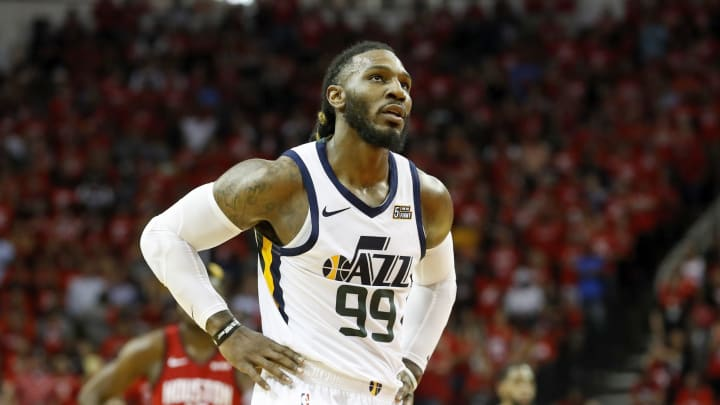 HOUSTON, TX – APRIL 24: Potential San Antonio Spurs trade target Jae Crowder #99 of the Utah Jazz reacts in the fourth quarter during Game Five of the first round of the 2019 NBA Western Conference Playoffs between the Houston Rockets and the Utah Jazz at Toyota Center on April 24, 2019 in Houston, Texas. (Photo by Tim Warner/Getty Images)