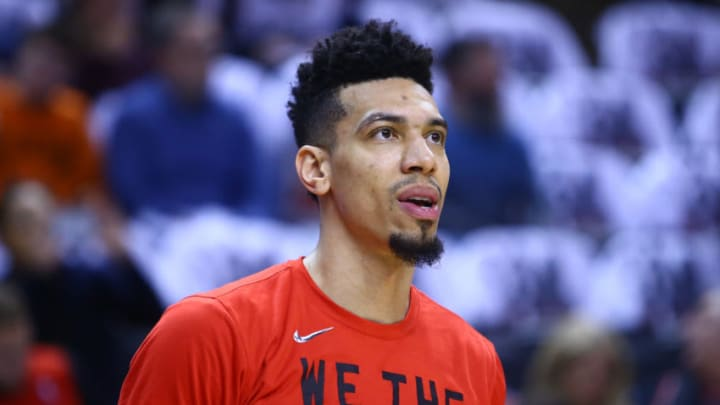TORONTO, ON - APRIL 29: Danny Green #14 of the Toronto Raptors looks on during warm up, prior to Game Two of the second round of the 2019 NBA Playoffs against the Philadelphia 76ers at Scotiabank Arena on April 29, 2019 in Toronto, Canada. NOTE TO USER: User expressly acknowledges and agrees that, by downloading and or using this photograph, User is consenting to the terms and conditions of the Getty Images License Agreement. (Photo by Vaughn Ridley/Getty Images)