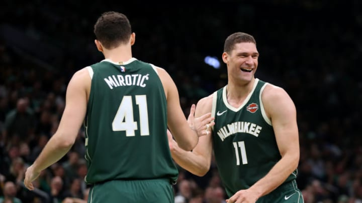 BOSTON, MASSACHUSETTS - MAY 03: Brook Lopez #11 of the Milwaukee Bucks celebrates with Nikola Mirotic #41 of the Milwaukee Bucks during the second half of Game 3 of the Eastern Conference Semifinals against the Boston Celtics of the 2019 NBA Playoffs at TD Garden on May 03, 2019 in Boston, Massachusetts. The Bucks defeat the Celtics 123 - 116. (Photo by Maddie Meyer/Getty Images)