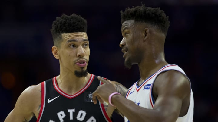 PHILADELPHIA, PA – MAY 02: Danny Green #14 of the Toronto Raptors talks to Jimmy Butler #23 of the Philadelphia 76ers in Game Three of the Eastern Conference Semifinals at the Wells Fargo Center on May 2, 2019 in Philadelphia, Pennsylvania. The 76ers defeated the Raptors 116-95. (Photo by Mitchell Leff/Getty Images)