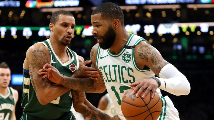 BOSTON, MASSACHUSETTS – MAY 06: George Hill #3 of the Milwaukee Bucks defends Marcus Morris #13 of the Boston Celtics during Game 4 of the Eastern Conference Semifinals (Photo by Maddie Meyer/Getty Images)