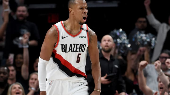 PORTLAND, OREGON – MAY 09: Rodney Hood #5 of the Portland Trail Blazers reacts after hitting a shot in the second half of Game Six of the Western Conference Semifinals against the Denver Nuggets at Moda Center on May 09, 2019 in Portland, Oregon. The Blazers won 119-108. (Photo by Steve Dykes/Getty Images)