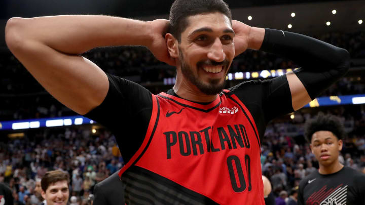 DENVER, COLORADO – MAY 12: Enes Kanter #00 of the Portland Trail Blazers celebrates their win against the Denver Nuggetts during Game Seven of the Western Conference Semi-Finals of the 2019 NBA Playoffs at the Pepsi Center on May 12, 2019 in Denver, Colorado. (Photo by Matthew Stockman/Getty Images)