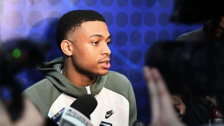 CHICAGO, ILLINOIS - MAY 16: Eventual San Antonio Spurs selection Keldon Johnson speaks with the media during Day One of the NBA Draft Combine (Photo by Stacy Revere/Getty Images)