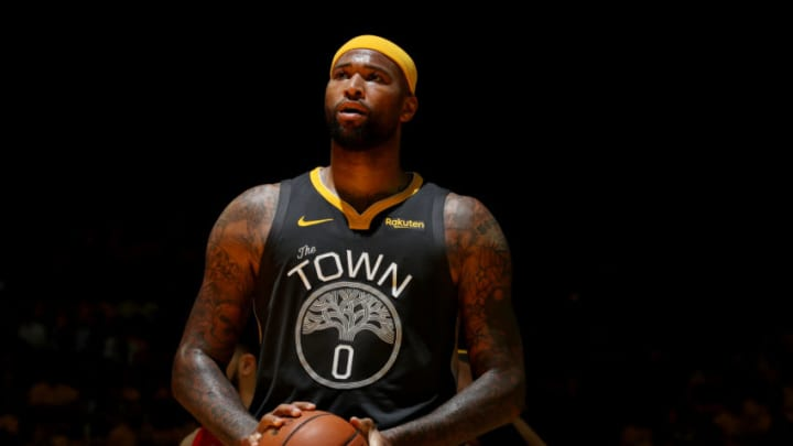 OAKLAND, CA - JUNE 13: Potential San Antonio Spurs target DeMarcus Cousins #0 of the Golden State Warriors shoots a free throw against the Toronto Raptors during Game Six of the 2019 NBA Finals on June 13, 2019 at ORACLE Arena in Oakland, California. NOTE TO USER: User expressly acknowledges and agrees that, by downloading and/or using this photograph, user is consenting to the terms and conditions of Getty Images License Agreement. Mandatory Copyright Notice: Copyright 2019 NBAE (Photo by Nathaniel S. Butler/NBAE via Getty Images)