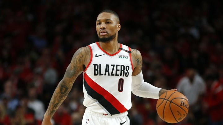 PORTLAND, OREGON – MAY 20: Damian Lillard #0 of the Portland Trail Blazers handles the ball during the second half against the Golden State Warriors in game four of the NBA Western Conference Finals at Moda Center on May 20, 2019, in Portland, Oregon.