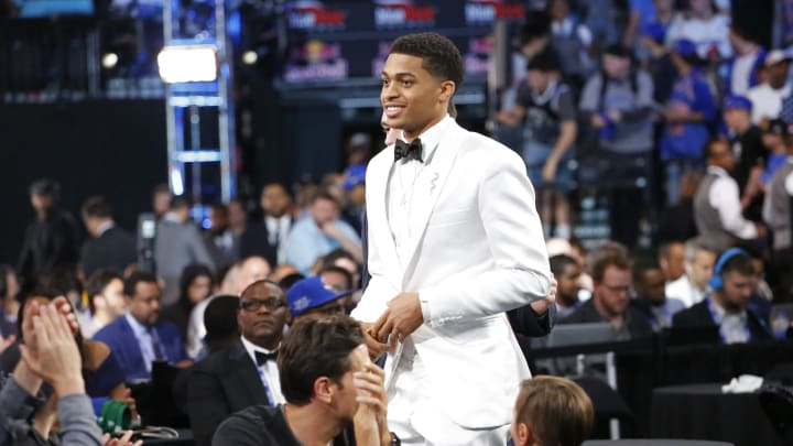 BROOKLYN, NY – JUNE 20: Keldon Johnson celebrates as he is drafted by the San Antonio Spurs with the No. 29th overall pick during the 2019 NBA Draft (Photo by Ashlee Espinal/NBAE via Getty Images)