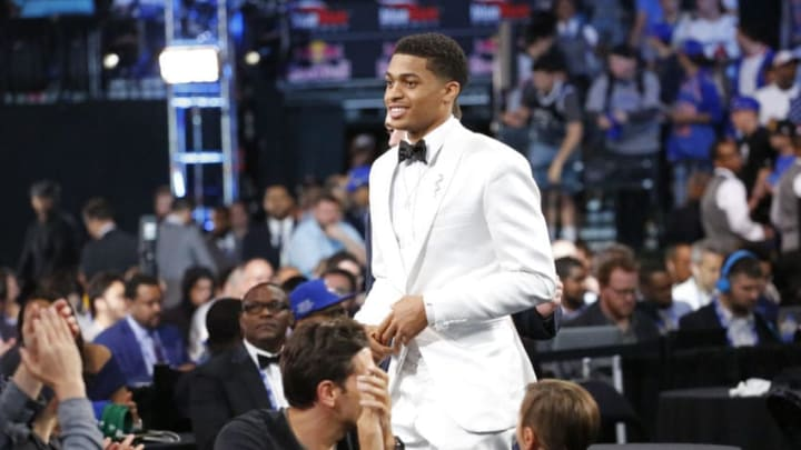 BROOKLYN, NY - JUNE 20: Keldon Johnson celebrates as he is drafted by the San Antonio Spurs with the No. 29th overall pick during the 2019 NBA Draft (Photo by Ashlee Espinal/NBAE via Getty Images)