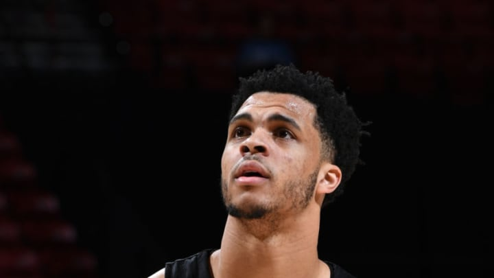 DENVER, CO - JULY 7: Quinndary Weatherspoon #15 of the San Antonio Spurs shoots free throws against the Charlotte Hornets during Day 3 of the 2019 Las Vegas Summer League on July 7, 2019 at the Thomas & Mack Center in Las Vegas, Nevada. NOTE TO USER: User expressly acknowledges and agrees that, by downloading and/or using this Photograph, user is consenting to the terms and conditions of the Getty Images License Agreement. Mandatory Copyright Notice: Copyright 2019 NBAE (Photo by Garrett Ellwood/NBAE via Getty Images)
