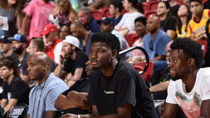 LAS VEGAS, NV - JULY 14: Chimezie Metu #7 of the San Antonio Spurs attends the Semifinals of the Las Vegas Summer League between the Memphis Grizzlies and the New Orleans Pelicans (Photo by David Dow/NBAE via Getty Images)
