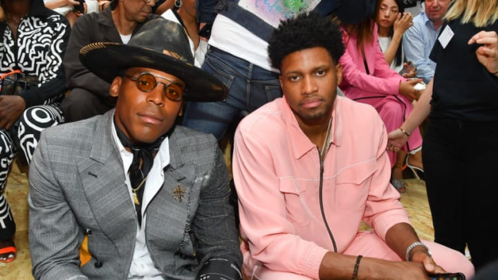 Cam Newton and Rudy Gay attend the Off-White Menswear Spring Summer 2020. (Photo by Stephane Cardinale - Corbis/Corbis via Getty Images)