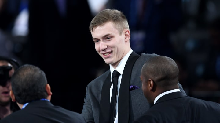 NEW YORK, NEW YORK – JUNE 20: Luka Samanic reacts after being drafted with the 19th overall pick by the San Antonio Spurs during the 2019 NBA Draft at the Barclays Center. (Photo by Sarah Stier/Getty Images)