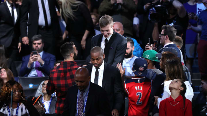 NEW YORK, NEW YORK – JUNE 20: Luka Samanic reacts after being drafted with the 19th overall pick by the San Antonio Spurs during the 2019 NBA Draft at the Barclays Center. (Photo by Mike Lawrie/Getty Images)