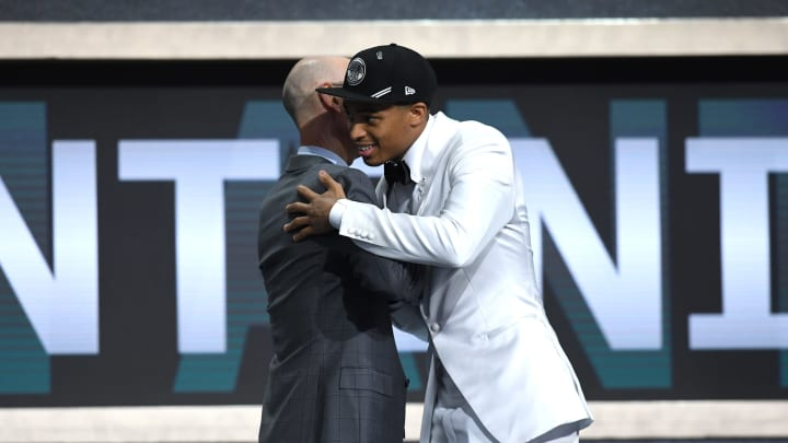 NEW YORK, NEW YORK – JUNE 20: Keldon Johnson poses with NBA Commissioner Adam Silver after being drafted with the 29th overall pick by the San Antonio Spurs during the 2019 NBA Draft. (Photo by Sarah Stier/Getty Images)