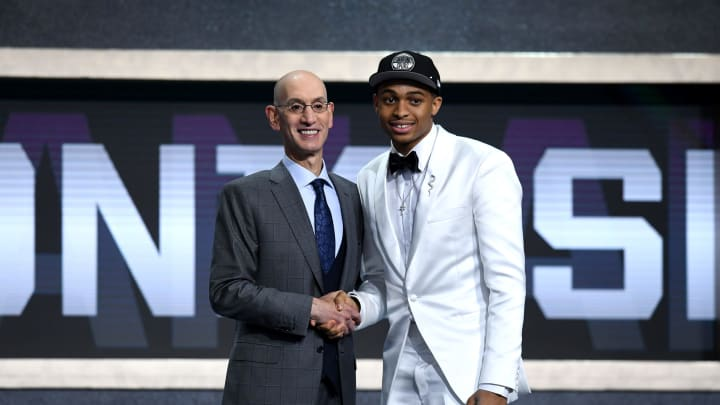 NEW YORK, NEW YORK – JUNE 20: Keldon Johnson poses with NBA Commissioner Adam Silver after being drafted 29th overall by the San Antonio Spurs during the 2019 NBA Draft at Barclays Center. (Photo by Sarah Stier/Getty Images)
