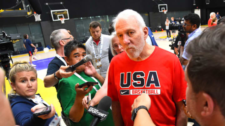 EL SEGUNDO, CA - AUGUST 15: Head coach Gregg Popovich of the San Antonio Spurs talks to the media after the 2019 USA Men's National Team World Cup training camp practice at UCLA Health Training Center on August 15, 2019 in El Segundo, California. (Photo by Jayne Kamin-Oncea/Getty Images)