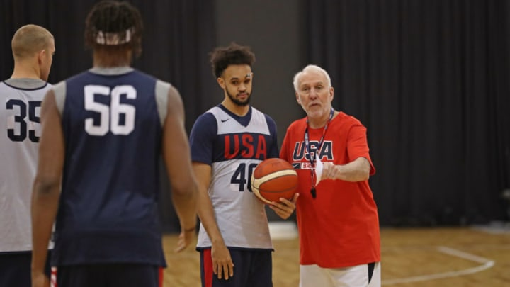 SYDNEY, AUSTRALIA - AUGUST 24: Head Coach Gregg Popovich instructs Derrick White #46 of Team USA during the 2019 USA Basketball Men's National Team Training Camp at Qudos Bank Arena on August 24, 2019 in Sydney, Australia. NOTE TO USER: User expressly acknowledges and agrees that, by downloading and/or using this photograph, user is consenting to the terms and conditions of the Getty Images License Agreement. Mandatory Copyright Notice: Copyright 2019 NBAE (Photo by Joe Murphy/NBAE via Getty Images)