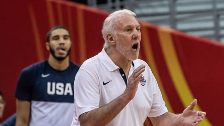SHANGAI, CHINA - SEPTEMBER 03: Head coach of USA Gregg Popovich gives tactics to players during the 2019 FIBA World Cup Group E match between USA and Turkey at Shanghai Oriental Sports Center in Shanghai, China on September 03, 2019. (Photo by Stringer/Anadolu Agency via Getty Images)