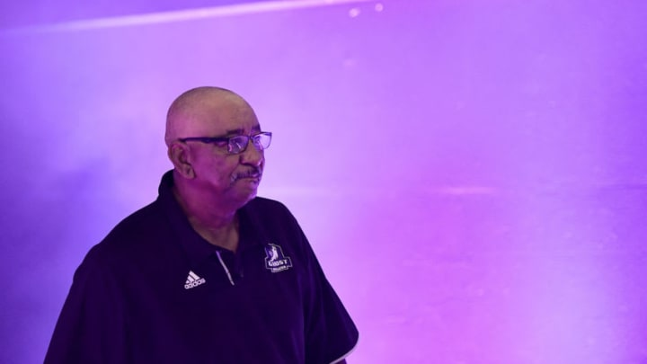 CHICAGO, ILLINOIS - AUGUST 03: San Antonio Spurs legend and head coach George Gervin of the Ghost Ballers is introduced before the game against Tri-State during week seven of the BIG3 three on three basketball league at Allstate Arena (Photo by Stacy Revere/BIG3 via Getty Images)