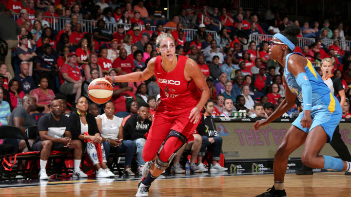 WASHINGTON, DC – SEPTEMBER 8: Elena Delle Donne #11 of the Washington Mystics handles the ball against the Chicago Sky (Photo by Ned Dishman/NBAE via Getty Images)