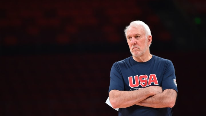 SHENZHEN, CHINA - SEPTEMBER 9: Head Coach Gregg Popovich of USA looks on during shoot around at the Shenzhen Bay Sports Center on September 9, 2019 in Shenzhen, China. NOTE TO USER: User expressly acknowledges and agrees that, by downloading and/or using this Photograph, user is consenting to the terms and conditions of the Getty Images License Agreement. Mandatory Copyright Notice: Copyright 2019 NBAE (Photo by David Dow/NBAE via Getty Images)
