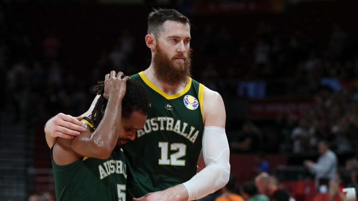 BEIJING, CHINA – SEPTEMBER 13: Aron Baynes with Patty Mills of Australia reacts after losing against Spain during the 2019 FIBA World Cup. Each left a mark on the San Antonio Spurs in the NBA. (Photo by Lintao Zhang/Getty Images)