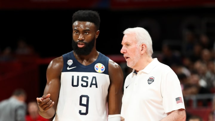 BEIJING, CHINA – SEPTEMBER 14: Head Coach Gregg Popovich of USA and the San Antonio Spurs talks with Jaylen Brown during the games 7-8 of 2019 FIBA World Cup (Photo by Lintao Zhang/Getty Images)