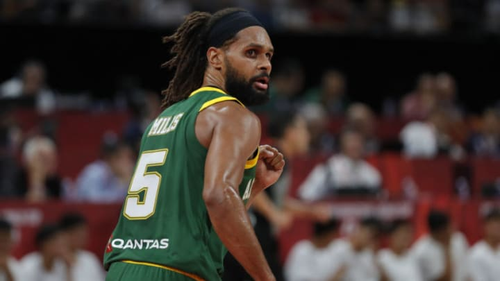 BEIJING, CHINA - SEPTEMBER 15: #5 Patty Mills of Australia National Team in action against the France National Team during the 3rd place game of 2019 FIBA World Cup at Beijing Wukesong Sport Arena on September 15, 2019 in Beijing, China. (Photo by Fred Lee/Getty Images)