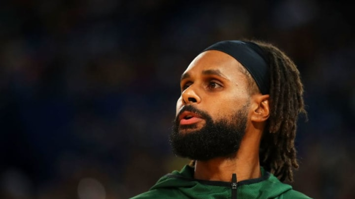 PERTH, AUSTRALIA - AUGUST 17: Patty Mills of Australia watches on from the bench during the International Basketball friendly match between the Australian Boomers and Canada at RAC Arena on August 17, 2019 in Perth, Australia. (Photo by Mark Kolbe/Getty Images)