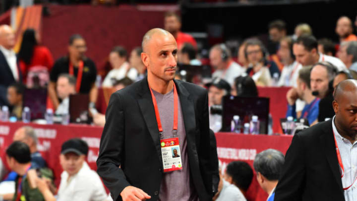 BEIJING, CHINA - SEPTEMBER 15: Manu Ginóbili attends the game between Argentina and Spain during the 2019 FIBA World Cup Final at the Cadillac Arena on September 15, 2019 in Beijing, China.