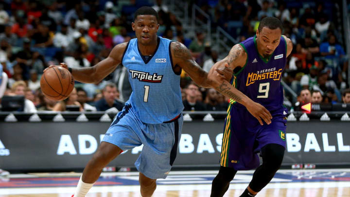 NEW ORLEANS, LOUISIANA – AUGUST 25: Joe Johnson #1 of the Triplets is guarded by Rashard Lewis #9 of the 3 Headed Monsters during the BIG3 Playoffs (Photo by Sean Gardner/Getty Images)
