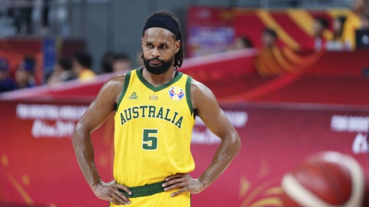 DONGGUAN, CHINA - SEPTEMBER 03: Patty Mills #5 of Australia reacts during FIBA World Cup 2019 Group H match between Australia and Senegal at Dongguan Basketball Centre on September 3, 2019 in Dongguan, Guangdong Province of China. (Photo by VCG/VCG via Getty Images)