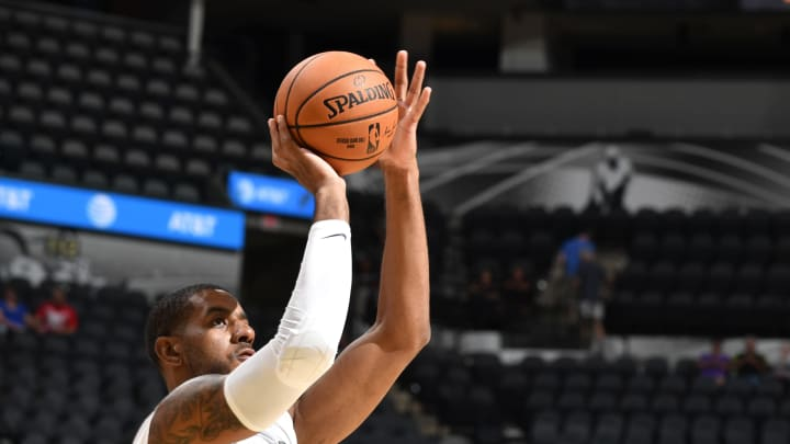 SAN ANTONIO, TX – OCTOBER 5: LaMarcus Aldridge #12 of the San Antonio Spurs warms up before the game against the Orlando Magic during the preseason (Photos by Logan Riely/NBAE via Getty Images)