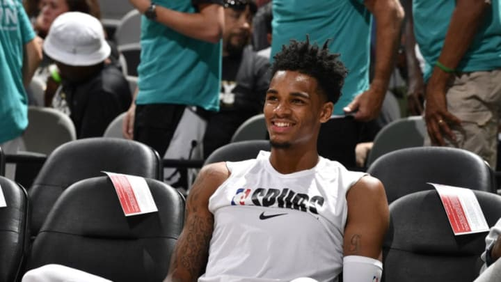 SAN ANTONIO, TX - OCTOBER 5: Dejounte Murray #5 of the San Antonio Spurs smiles before the game against the Orlando Magic during the preseason on October 5, 2019 at the AT&T Center in San Antonio, Texas. NOTE TO USER: User expressly acknowledges and agrees that, by downloading and or using this photograph, user is consenting to the terms and conditions of the Getty Images License Agreement. Mandatory Copyright Notice: Copyright 2019 NBAE (Photos by Logan Riely/NBAE via Getty Images)