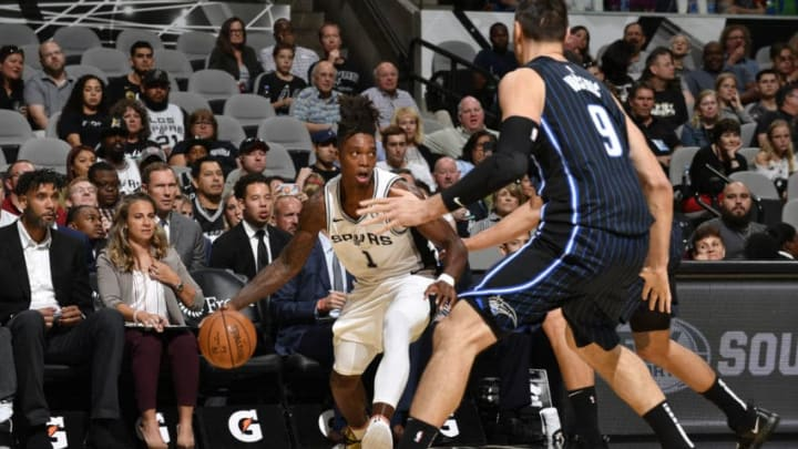 SAN ANTONIO, TX - OCTOBER 5: Lonnie Walker IV #1 of the San Antonio Spurs handles the ball against the Orlando Magic during the preseason on October 5, 2019 at the AT&T Center in San Antonio, Texas. NOTE TO USER: User expressly acknowledges and agrees that, by downloading and or using this photograph, user is consenting to the terms and conditions of the Getty Images License Agreement. Mandatory Copyright Notice: Copyright 2019 NBAE (Photos by Logan Riely/NBAE via Getty Images)