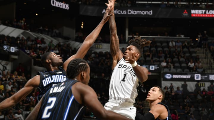 Lonnie Walker IV #1 of the San Antonio Spurs shoots the ball against the Orlando Magic. (Photos by Logan Riely/NBAE via Getty Images)